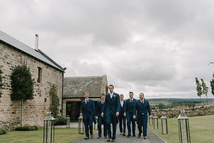 Groom and Groomsmen in Navy Blue Morning Suits | Healey Barn Countryside Wedding with Wild Flowers and Bride in Pronovias | Georgina Harrison Photography