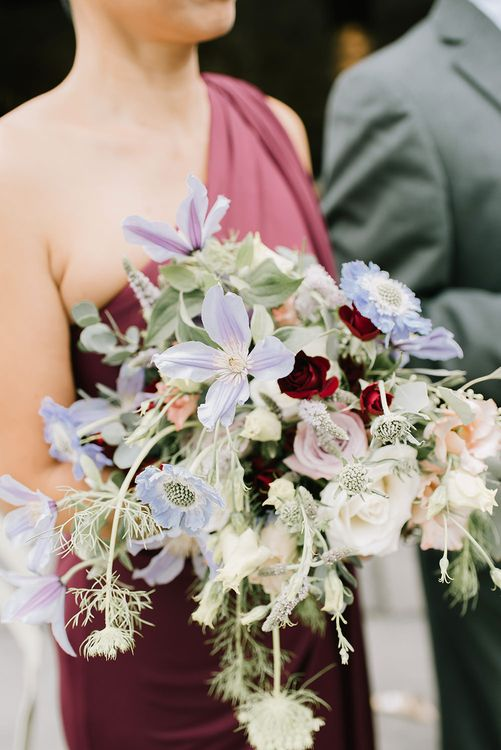 Bouquet of Wild Flowers in Pastel Colours | Bridesmaid in Burgundy Phase Eight Dress | Healey Barn Countryside Wedding with Wild Flowers and Bride in Pronovias | Georgina Harrison Photography