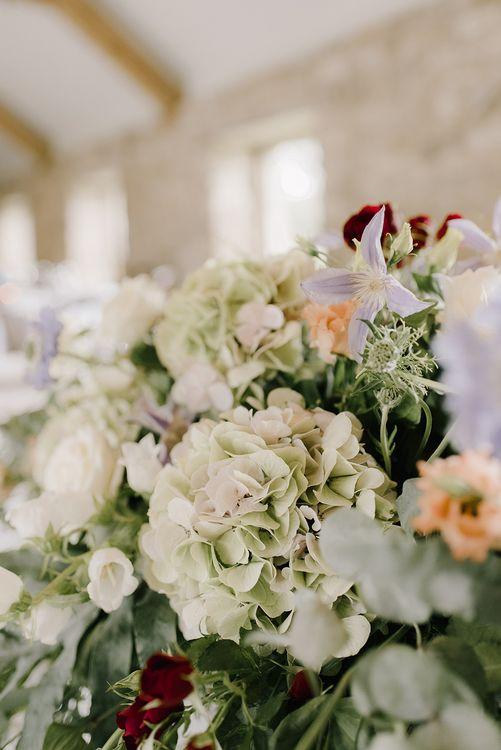 Pastel Wild Wedding Flowers with Hydrangeas | Healey Barn Countryside Wedding with Wild Flowers and Bride in Pronovias | Georgina Harrison Photography