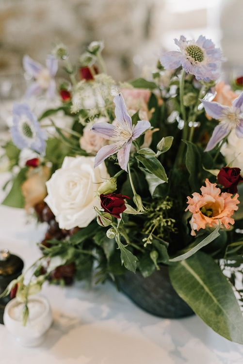 Wild Flowers in Pastel Colours | Wedding Reception Decor | Healey Barn Countryside Wedding with Wild Flowers and Bride in Pronovias | Georgina Harrison Photography