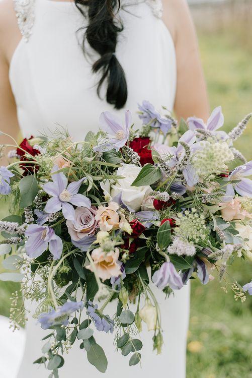 Bridal Bouquet of Pastel Wild Flowers |  Bride in Racerback Pronovias Wedding Dress | Healey Barn Countryside Wedding with Wild Flowers and Bride in Pronovias | Georgina Harrison Photography