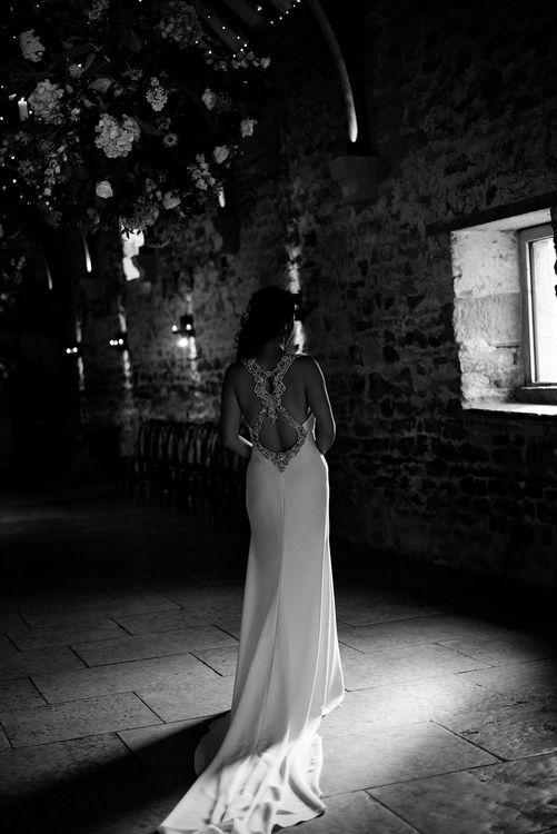 Back Detail of Pronovias Wedding Dress | Healey Barn Countryside Wedding with Wild Flowers and Bride in Pronovias | Georgina Harrison Photography