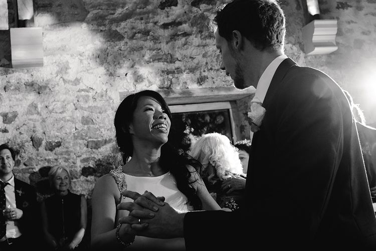 Wedding Ceilidh | Bride in Racerback Pronovias Wedding Dress | Groom in Navy Blue Morning Suit | Healey Barn Countryside Wedding with Wild Flowers and Bride in Pronovias | Georgina Harrison Photography