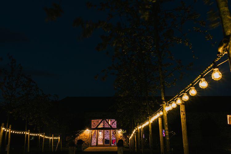 Healey Barn Wedding Venue at Night | Healey Barn Countryside Wedding with Wild Flowers and Bride in Pronovias | Georgina Harrison Photography