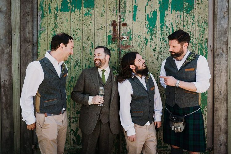 Groom and Groomsmen in Tweet Waistcoats