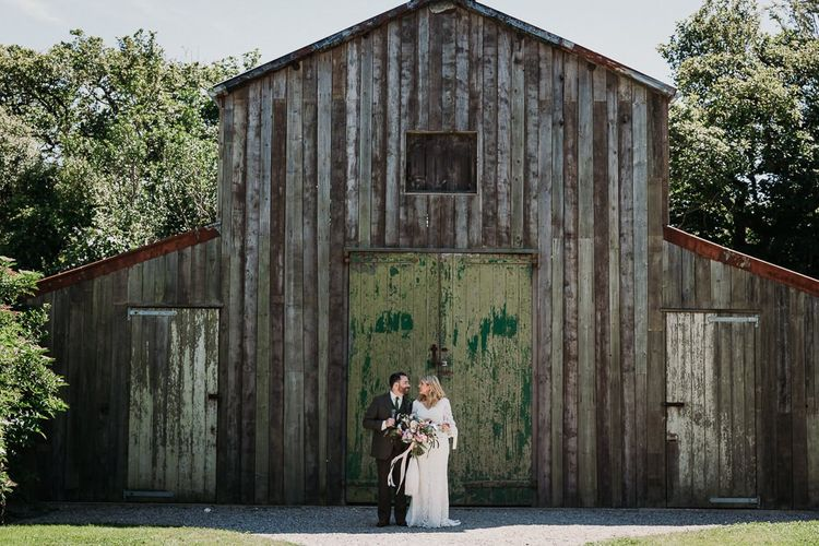 Bride and Groom For Rustic Barn Wedding