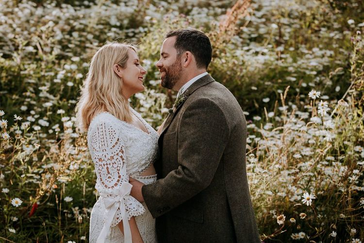 Bride and Groom Portrait with Groom in Tweed Suit