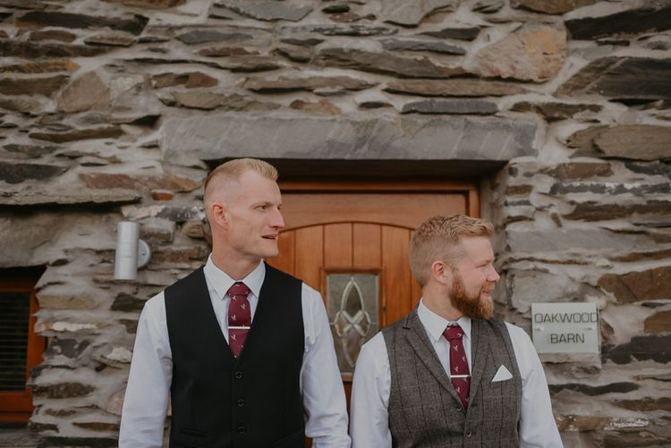 Groom in waistcoat and tie for intimate wedding