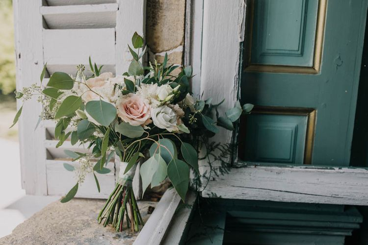 Bridal Bouquet of Blush and White Flowers with Foliage   Outdoor Seating Area and Macaroon Tower at French Chateau Wedding   Lush Imaging