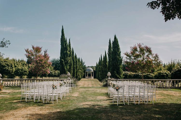 Outdoor Wedding Ceremony at Chateau La Durantie, Dordogne   Outdoor Seating Area and Macaroon Tower at French Chateau Wedding   Lush Imaging