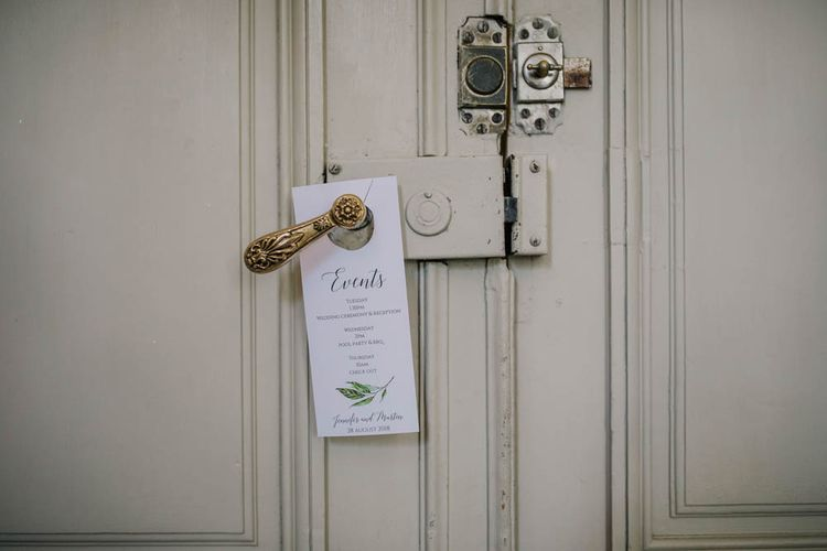 Order of Events Door Sign   Outdoor Seating Area and Macaroon Tower at French Chateau Wedding   Lush Imaging