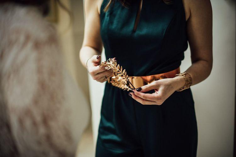 Metallic Copper Belt and Headdress Bridal Accessories