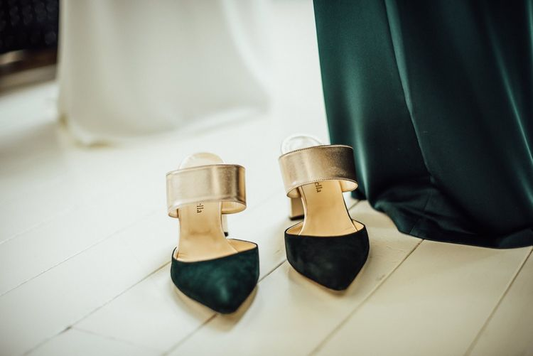 Faber Novella Slip On Forest Green and Metallic Shoes