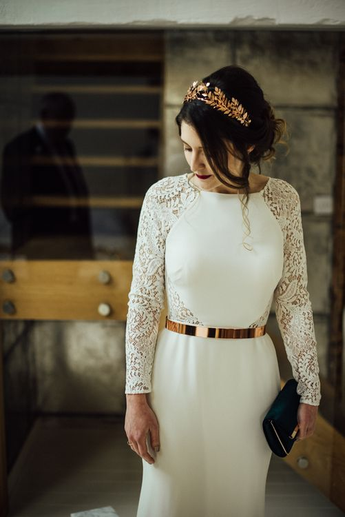 Stylish Bride in Anglet / French By Wendy Makin Wedding Dress with Lace Long Sleeves and Metallic Belt and Headdress
