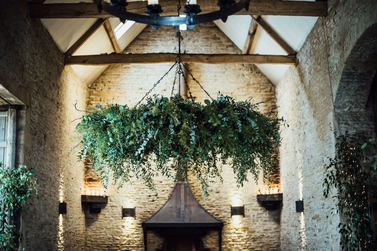 Hanging Foliage Chandelier at Stone Barn Wedding Venue in the Cotswolds