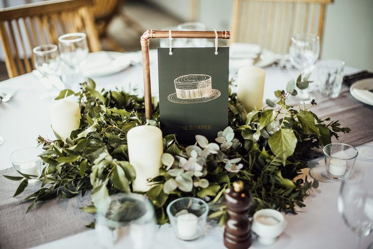 Wedding Centrepiece with Foliage and Copper Frame Table Name Sign