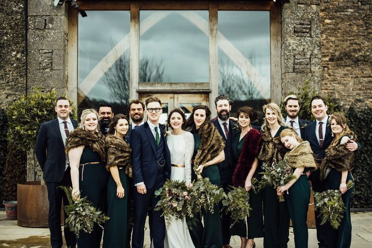 Wedding Party Portrait in Navy Blue, Forest Green and Burgundy Winter Wedding Attire