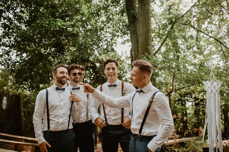 Groomsmen in Bow Ties & Braces | Macramé & Dreamcatcher Woodland Wedding at Upthorpe Wood | Camilla Andrea Photography