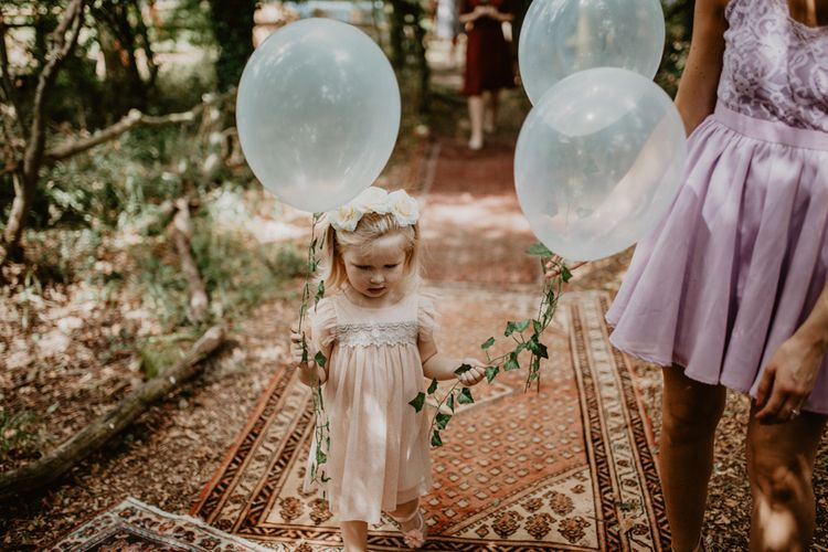 Flower Girl with Clear Balloons | Macramé & Dreamcatcher Woodland Wedding at Upthorpe Wood | Camilla Andrea Photography