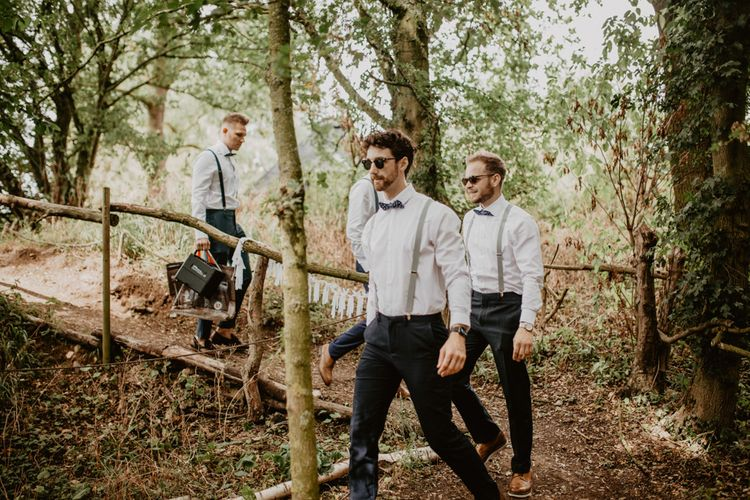 Groomsmen in Bow Tie & Braces | Macramé & Dreamcatcher Woodland Wedding at Upthorpe Wood | Camilla Andrea Photography