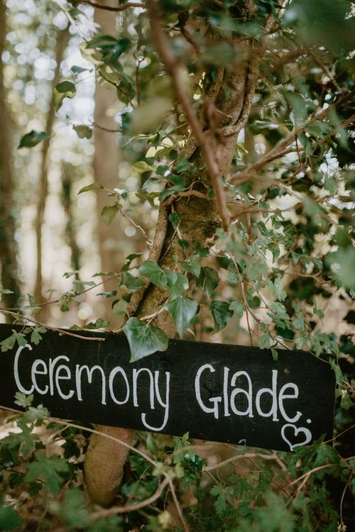 Chalkboard Wedding Sign | Macramé & Dreamcatcher Woodland Wedding at Upthorpe Wood | Camilla Andrea Photography