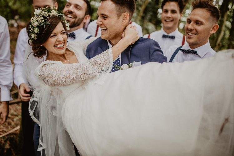 Wedding Party | Boho Bride in Flower Crown & Kula Tsurdui  Wedding Dress | Groom in Navy Blue Suit  | Macramé & Dreamcatcher Woodland Wedding at Upthorpe Wood | Camilla Andrea Photography