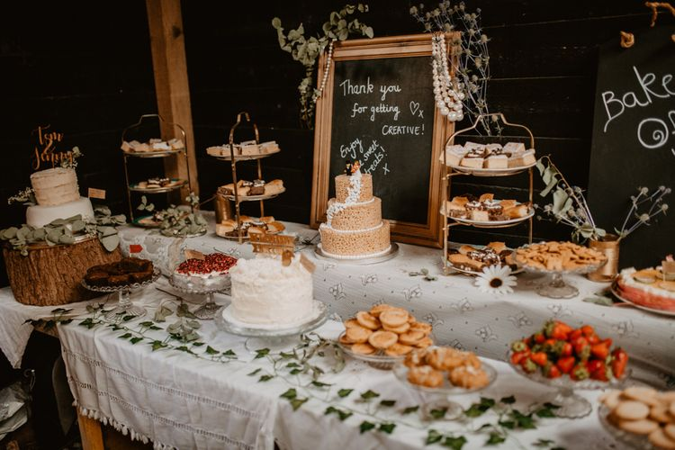 Bake Off Cake Table | Macramé & Dreamcatcher Woodland Wedding at Upthorpe Wood | Camilla Andrea Photography