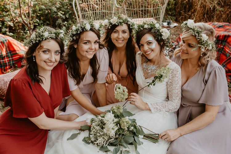 Bridal Party | Bridesmaids in ReWritten Wrap Dresses | Boho Bride in Flower Crown & Kula Tsurdui  Wedding Dress | Macramé & Dreamcatcher Woodland Wedding at Upthorpe Wood | Camilla Andrea Photography