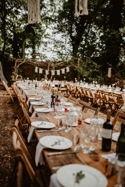 Outdoor Wedding Reception | Macramé & Dreamcatcher Woodland Wedding at Upthorpe Wood | Camilla Andrea Photography