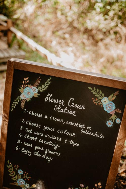 Flower Crown Station Chalkboard Wedding Sign | Macramé & Dreamcatcher Woodland Wedding at Upthorpe Wood | Camilla Andrea Photography