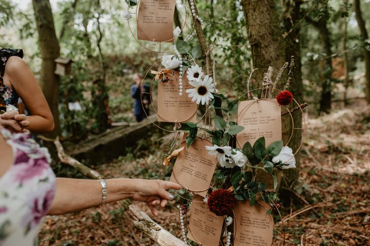 Hoop Table Plan | Macramé & Dreamcatcher Woodland Wedding at Upthorpe Wood | Camilla Andrea Photography