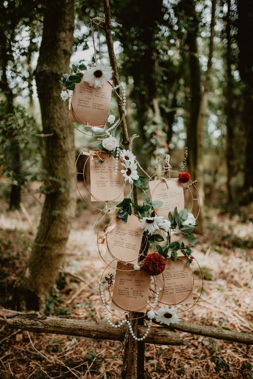 Hoop Seating Chart | Macramé & Dreamcatcher Woodland Wedding at Upthorpe Wood | Camilla Andrea Photography