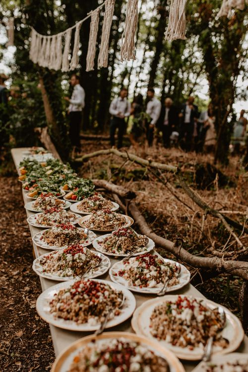 Wedding Catering | Macramé & Dreamcatcher Woodland Wedding at Upthorpe Wood | Camilla Andrea Photography