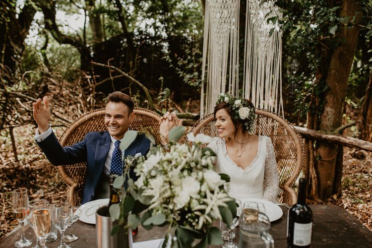 Sweetheart Table & Peacock Chairs | Wedding Decor | Macramé & Dreamcatcher Woodland Wedding at Upthorpe Wood | Boho Bride in Flower Crown & Kula Tsurdui  Wedding Dress | Groom in Navy Blue Suit  | Camilla Andrea Photography