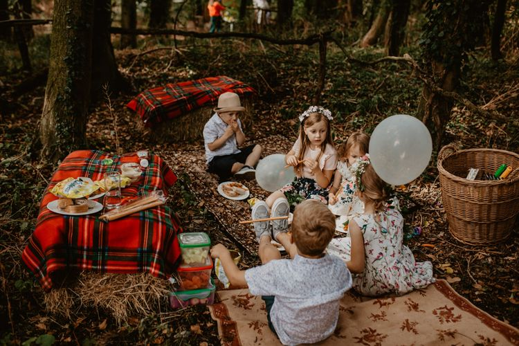 Children's Area | Macramé & Dreamcatcher Woodland Wedding at Upthorpe Wood | Camilla Andrea Photography