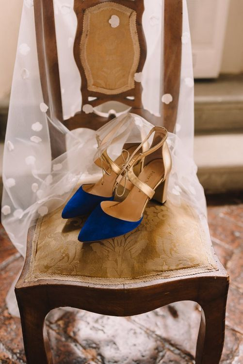 Brides Blue & Gold Shoes from Faber Novella with Veil