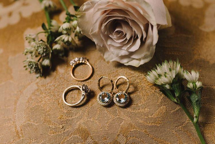Wedding Rings and Wedding Jewellery Earrings with Flowers