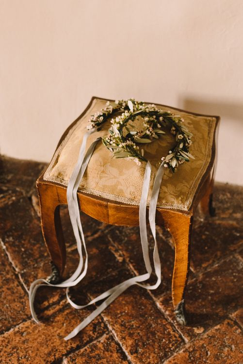 Bridal Party Flower Crowns with Pale Grey Ribbon