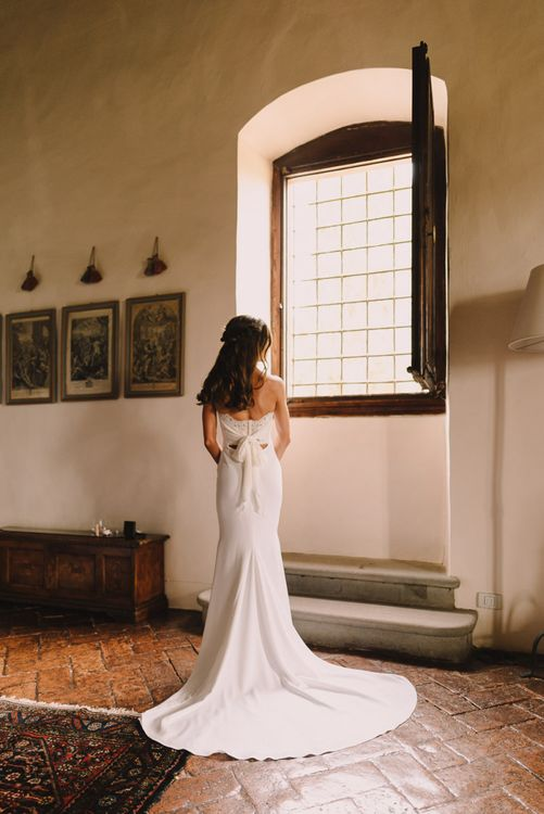 Beautiful Lace Back Bride Dress with Romantic Tie Bow
