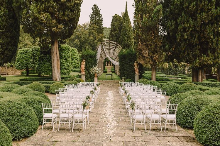 Outdoor Wedding Ceremony Aisle Set Up for Tuscan Wedding