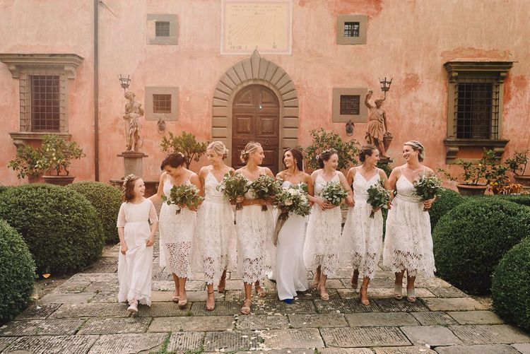 Bridal Party with Bridesmaid in White Lace ASOS Dresses  and Flowers from Flowers Living