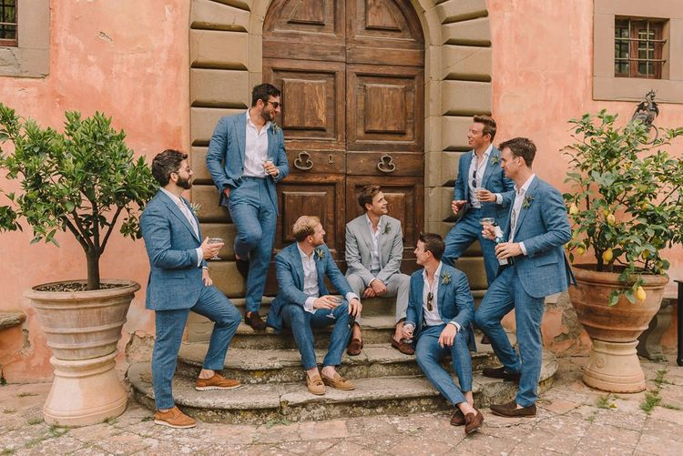 Groomsmen in Blue Suits from Suit Supply With Brown Shoes