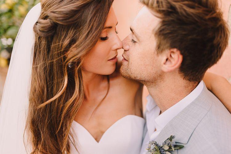 Bridal Hair Half Up Half Down Style With Veil