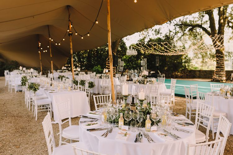 Tuscan Wedding Reception with Candle Centrepieces