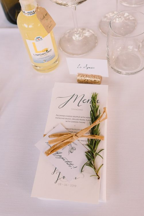 Wedding Stationery Meny with Thyme and Twine