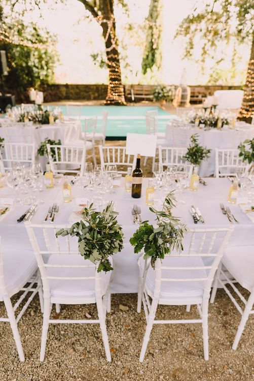 White and Green Wedding Reception in Italy with Foliage Chair Decoration