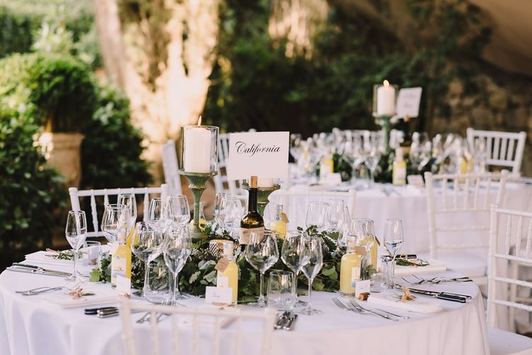 Destination Table Names  with Candles and Foliage