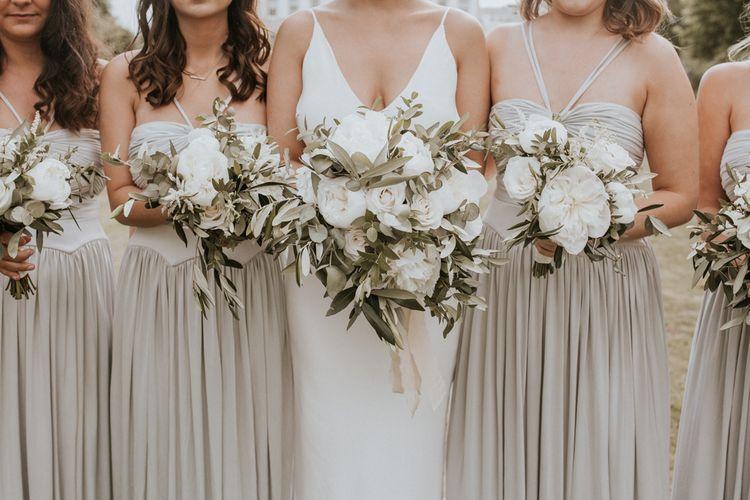 White Rose, Peony and Foliage Wedding Bouquets