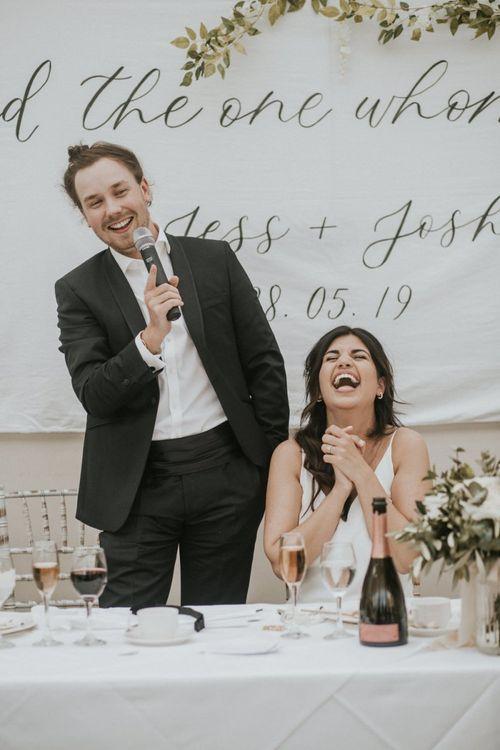 Groom in Tuxedo Giving His Wedding Speech