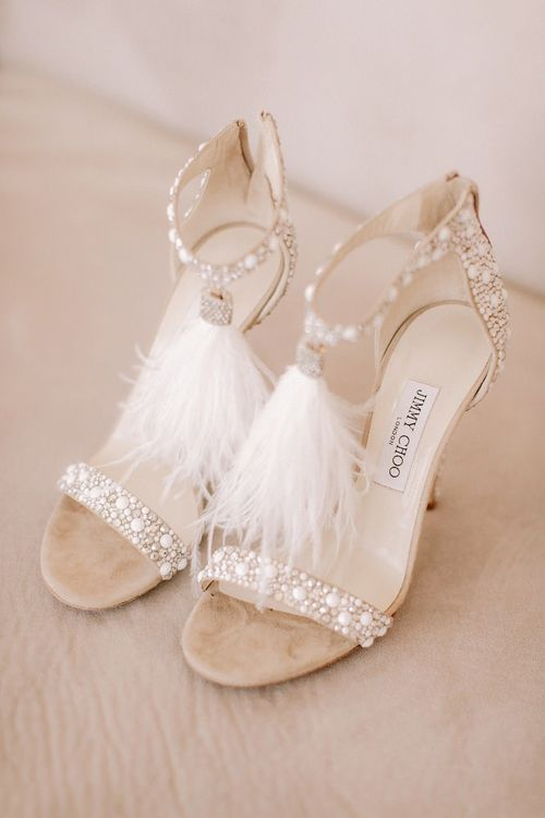 Feather detail wedding shoes with Essense of Australia wedding dress